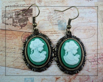 Vintage Style Cameo Earrings. Lady Cameo. Victorian Lady. Green Cameo
