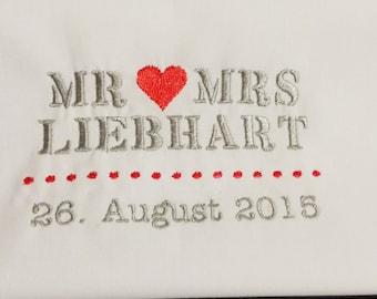 Hochzeitstüchlein...Besticktes Taschentuch