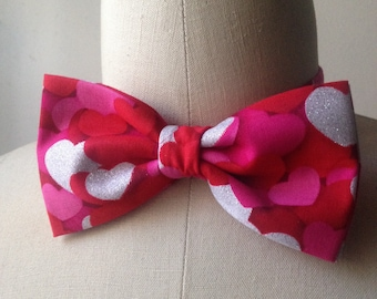 Hearts Pretied Bowtie with Adjustable Strap, valentine's day gift him, Mens bowtie