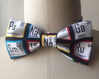 Multi-Colored Periodic Table Bowtie with adjustable strap, chemistry elements, geek bowties, gift for him, chemistry bow tie
