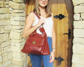 Leather Handbag Shoulder Bag Leather Purse Large Tote Leather Bag Cognac Alicia