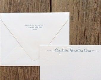 Calligraphy-style Custom Letterpress Stationery, Set of 25