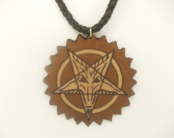 Dragon pentagram hand carved leather pendant - tooled leather jewelry