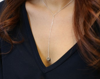 Personalized mini disc lariat necklace -gold filled or sterling silver  EL003
