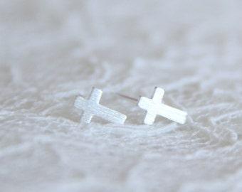 Sterling Silver cross ear posts. Everyday earrings