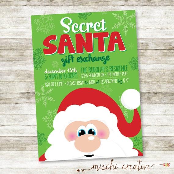 Christmas Ideas Secret Santa: Secret Santa Gift Exchange Holiday Party Digital Printable