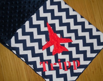 Minky Baby Blanket with Embroidered Fighter Jet- Navy Blue Chevron - Custom Monogram