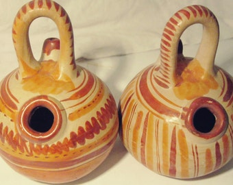 Vintage Folk Art Pottery  Made in Mexico Jugs with Spouts- Free Shipping