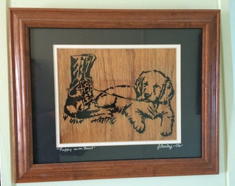 13x17 Framed Scroll Work Puppy with Boot Portrait