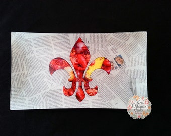 Cajun Decor Reverse Decoupage Platter - Crawfish Print Fleur De Lis Platter - Newspaper Print Reverse Decoupage Platter - Cajun Gifts