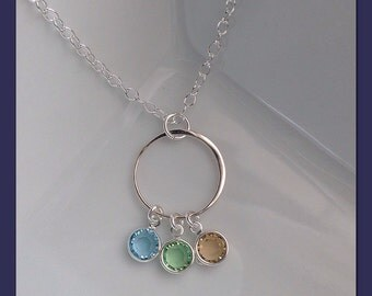 Birthstone Necklace - Sterling Silver Chain and Pendant with Swarovski Crystal Birthstones - Personalized Necklace for Grandma Gift for Mom
