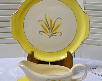 Vintage Alliance China Company Goldcrest Serving Platter Gravy Boat with Underplate Yellow Wheat PanchosPorch