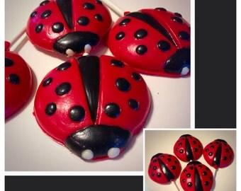 Ladybug Lollipops - Ladybug chocolates -  set of 12 Ladybug Chocolate lollopops