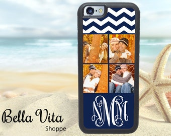 Photo iPhone 6 Case, Personalized iPhone 6 6 Plus Case, Monogrammed iPhone 6 Case, Photo Picture Case Chevrons