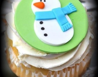 Snowman Cupcake Topper - Edible Fondant