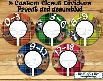 Custom Baby Closet Dividers Woodland Baby Boy Closet Dividers Clothes Dividers Size Dividers Hangers Rod divider Forest nursery organizer