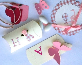 Pretty Baptism pillow boxes/bombonieres/baby girl shower favor box/christening baptism/butterfly/hearts/greek alphabet monogram/communion
