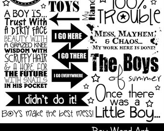 50% OFF~BOYS Word Art (PNG clip art) + Photoshop Brush Set, Scrapbooking, Card making, Printable, Phrases, Quotes, Boys, ~ Instant Download