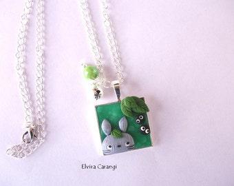 totoro cameo necklace miyazaki fanart studio ghibli polymer clay
