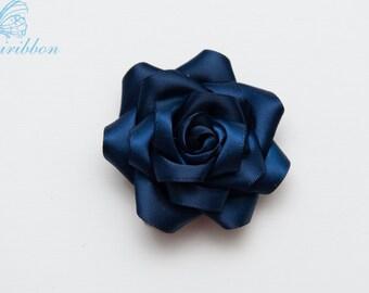 navy flower hair clip - satin ribbon flower girl hair bow - you choose color 110