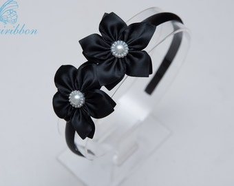 black flowers Headband -ribbon flower girls hair band - you choose color 124