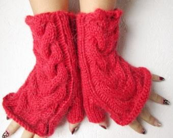 fingerless gloves,,Knitted Handmade red Fingerless Half Gloves with Cable, winter gloves, winter fingerless