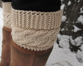 Boot Cuffs, 17 colors boots cuffs,light brown  boot cuffs, Knitted Leg Warmers with Cable, Boot Toppers,Winter accessory, Handmade