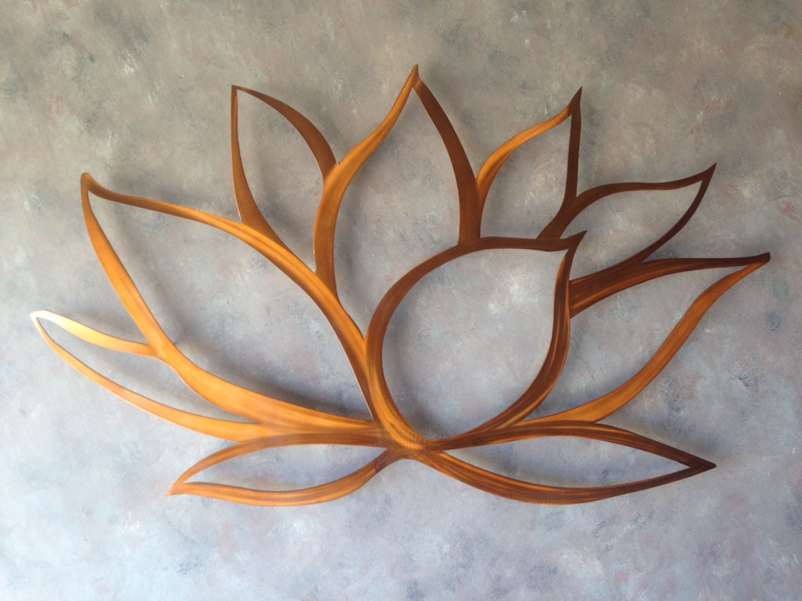 Lotus flower metal wall art lotus metal art by inspiremetals for Metal flower wall art