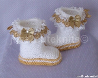 Hand Knitted Designer Baby Girl Booties Venise Lace Newborn Special Occasion Baby Shower Original Reborn Doll #44