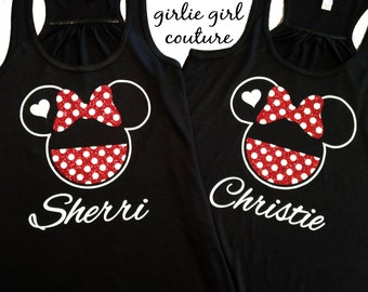 Custom Glitter Disney-Inspired Flowy Racerback Tank with Personalized Name - Youth Sizes Available
