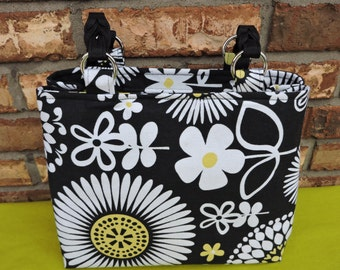 Medium Expandable Tote/Purse/Black, White Flowers with Green Accents