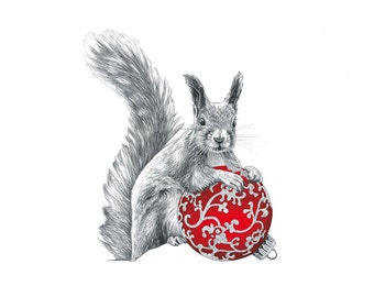 Set of 10 Christmas cards of a hand drawn squirrel, printed on recycled paper with red envelopes