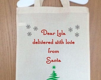 Gorgeous personalized Christmas Bags - choose any name for the front 26x32cm