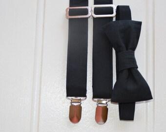 Black bow tie and suspenders - boys formal clothes, boys party clothes, black braces