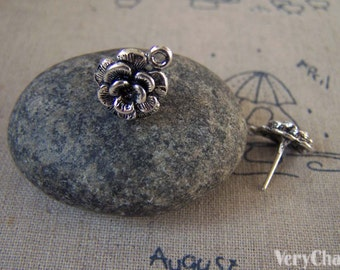 20 pcs of Antique Silver Flower Earring Posts With Loop Steel Pin 12mm A5419
