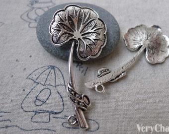 10 pcs of Antique Silver Lotus Leaf Lily Pad Charms Pendants 25x52mm A7556