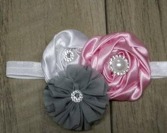 Pink, Grey & White Triple Flower Shabby/Swirl Rose Headband  Baby-toddler headband