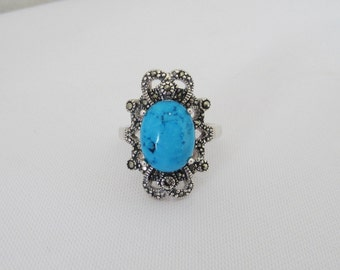 Vintage Sterling Silver Turquoise & Marcasite Ladies Ring Size 8