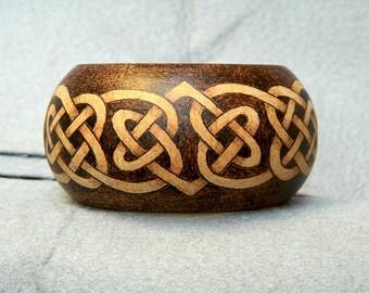 Celtic jewelry nature jewelry wooden bangle bracelet wooden jewelry wood burned jewelry wooden bracelet cuff bracelet Celtic knot