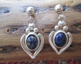 Vintage Lapis Post Earrings