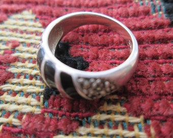 Black Onyx Sterling Ring  Size 5