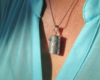Sterling Prayer Box Pendant Necklace