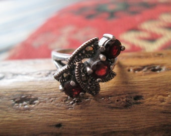 Ornate, Garnet, Marcasite and Sterling Ring Size 7
