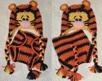 Crochet Tigger Hat and Diaper Cover