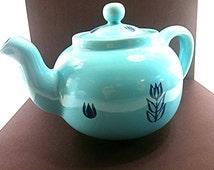 Cronin Pottery Teapot. Aqua Ceramic Teapot With Blue Tulips. Mid Century Turquoise Teapot. Vintage Wedding Gift