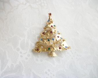 Vintage Fruit Salad Rhinestones Christmas Tree Goldtone Brooch Pin Retro Stocking Stuffer Hostess Gift