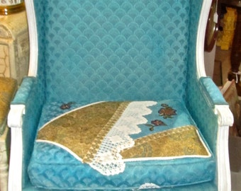 Turquoise Shabby Cottage Chic Appliqued French Upholstered Chair