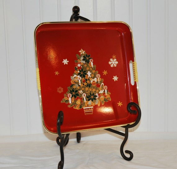 Vintage tilso square christmas tree tray holiday festive tray for Christmas tree tray floor