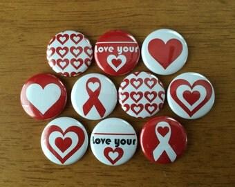 Heart Disease Awareness Pinback Buttons Set of 10 Heart Disease Awareness, Valentines Day, Cute hearts, Love Your Heart