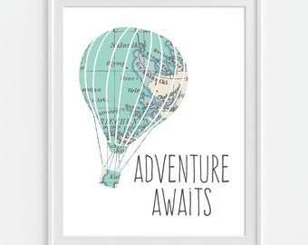 Vintage Map Hot Air Balloon Print 'Adventure Awaits' 5x7  8X10 11x14 Inspirational Quote Nursery Baby Print Wall Art, Home Decor Wall Art